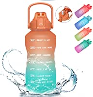 PASER Half Gallon/64oz Motivational Water Bottle with Time Marker & Straw, Leakproof Tritan BPA Free Water Jug (2.4L)...