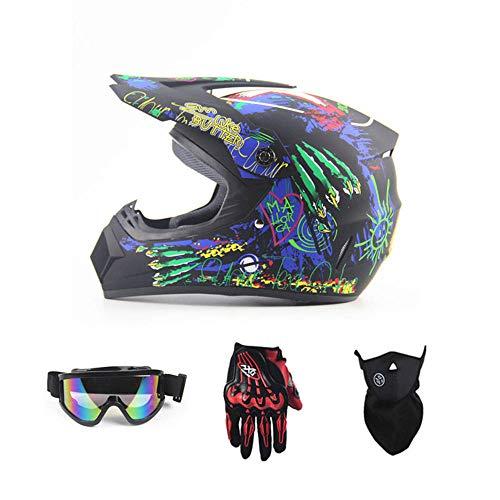 applemi Motocicleta Carreras Off-Road Casco Enviar Guantes Gafas Máscara Four Seasons Unisex-S