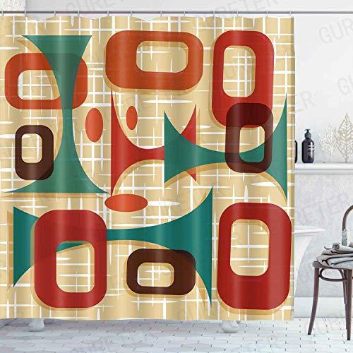 GURETER Mid Century Modern Graphic Shower Curtain Geometric Bathroom Curtain Waterproof with 12 Hooks 72x72in YLDSGE629