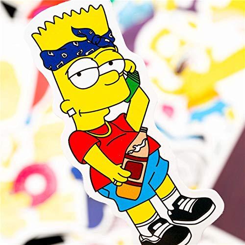 WYZNB The Stickers Simpsons Graffiti-Aufkleber, wasserdicht, für Gepäck, Trolley, Koffer, nicht wiederholende Aufkleber, 50 Stück