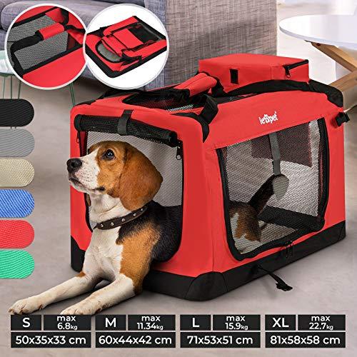 Hundebox - aus Stoff, S bis XXL, Faltbar, Tragbar, Abwaschbar, Größenwahl, Farbwahl - Hundetransportbox, Auto Transportbox, Katzenbox für Hunde, Katzen und Kleintiere (S (6.8kg/50x35x33cm), Rot)