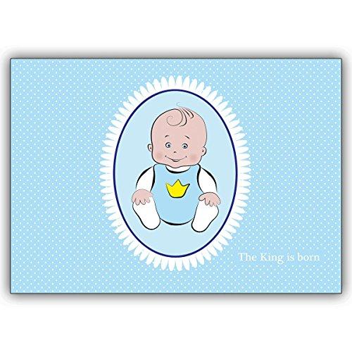 Wenskaarten met inkoopkorting: Meer dan kleine prins Babykaart voor de geboorte van een jongen: The King is born • mooie welkomst, wenskaart, wenskaart voor moeder en kind 10 Grußkarten
