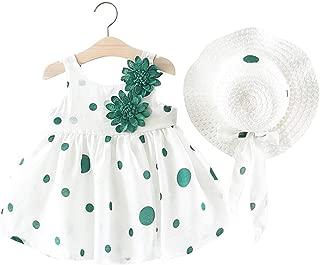 Baby Girls Floral Big Bowknot Sundress Dots Print Sleeveless Dress + Sun Hat Set
