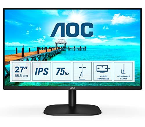 "AOC 27B2H Monitor LED da 27"" IPS, Full HD, 4 ms, Refresh 75Hz, VGA, HDMI, Senza Bordi, Low Blue Light, Nero"