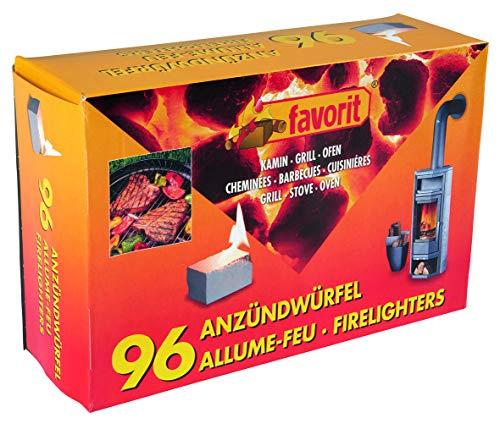 Favorit Anzündwürfel weiß, 96 Stück – Anzünder für Kamin, Grill und Ofen – 1247