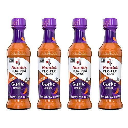 Nando's PERi PERi Garlic Sauce - Medium Heat Tangy Flavor | Gluten Free Hot Sauce, 9.1 oz Bottles (4 Pack)