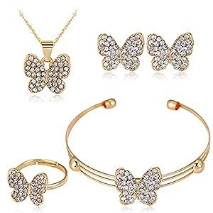 TUU Diamond Jewelry Set,Cubic Zirconia Earrings + Ring + Necklace + Bracelet, Hypoallergenic Jewelry Pack of 4 , Engagement Wedding Jewelry for Her Women Girls