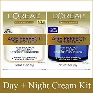 L'Oreal Paris Skin Expertise Age Perfect for Mature Skin, Day Cream SPF 15 + Night Cream, 2.5 Ounce Each