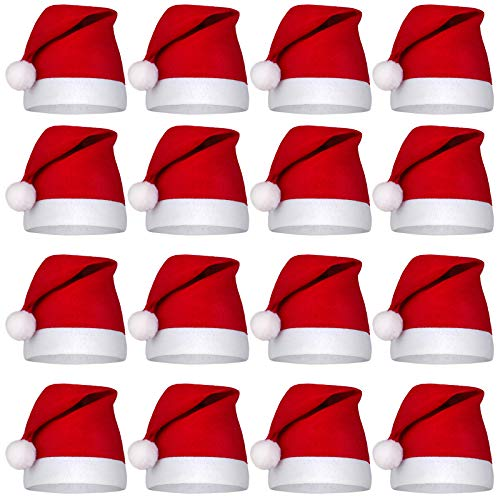 Aneco 16 Pack Christmas Hats Bulk Red and White Santa Hats Short Plush with White Cuffs Non-Woven Fabric Adult Sized and for Holiday Event (Red)