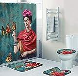 Conjunto De Accesorios De Baño Rojo Mujer 4 Piezas, Conjunto De Cortina De Ducha Impermeable + Alfombrilla De Baño +...