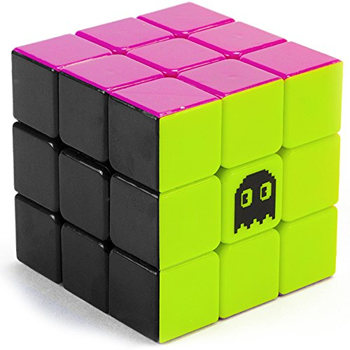 3 x 3 Stickerless Neon 80s Mod Puzzle Cube - Cool Fidget Toy Engineered for Fun & Speed Solving - Game & Desk Gadget for Adults and Kids - Party Favor, Stocking Stuffer, Stress Relief Activity