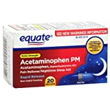 Equate - Pain Reliever PM Nighttime Sleep Aid, Extra Strength, Acetaminophen 20 Gelcaps