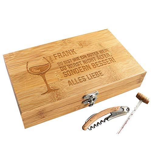 CADEAUX.COM Personalisierbare Sommelier-Box - Wein Geschenk Box - Dekantierset Sommelier Set, 5 Weinzubehör - Personalisierbares Geschenk - Zitat