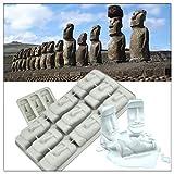 Busi Mini Silicone ice Tray ice Cube ice Tray ice Tray Tray Easter Island Stone Statue Creative ice Tray DIY ice Tray Tool Whiskey Moai Stone Statue ice Cream Mold Silicone Cake Mold
