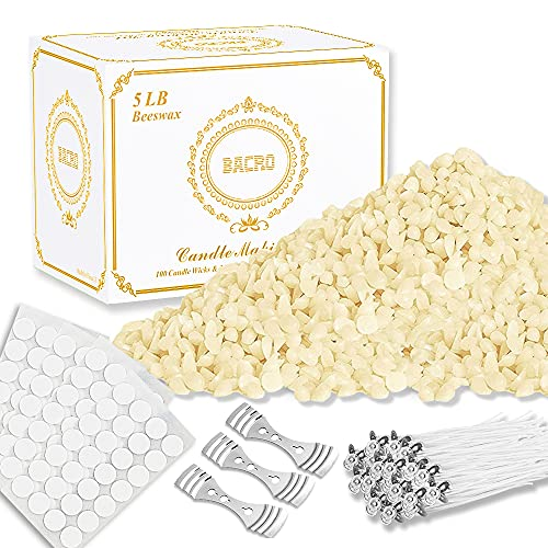 BACRO Natural Beeswax for DIY Candle Making Kit Supplies - 5 lb. Bag of Beeswax Flakes w/ 100 5-Inch Cotton Wicks, 3 Metal Centering Devices, 100 Candle Wick Stickers