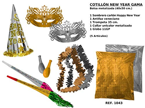 CAPRILO Lote de 10 Bolsas de Cotillones Decorativas Happy New Year Gama. Cotillón para Fiestas y Eventos....