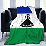 ZHYY Lesotho National Flag Country Banner Ultra-Soft Micro Fleece Throw Blanket Luxurious Silky Fluffy Plush Flannel Blanket for Autumn Winter