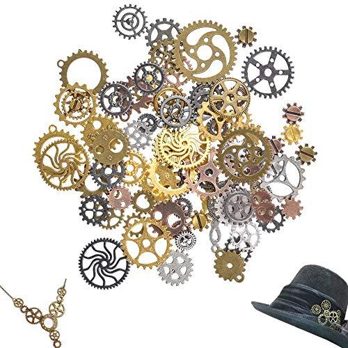 Antiguo Steampunk engranajes encantos reloj reloj rueda engranaje para Artesanías de BRICOLAJE, Fabricación de Joyas, Cosplay Accesorios de Vestir de Bronce (100 gramos)
