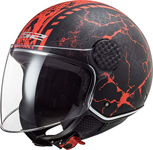 casco moto rosso e nero LS2 305586331XXL Casco Moto Jet OF558 Sphere Lux Snake