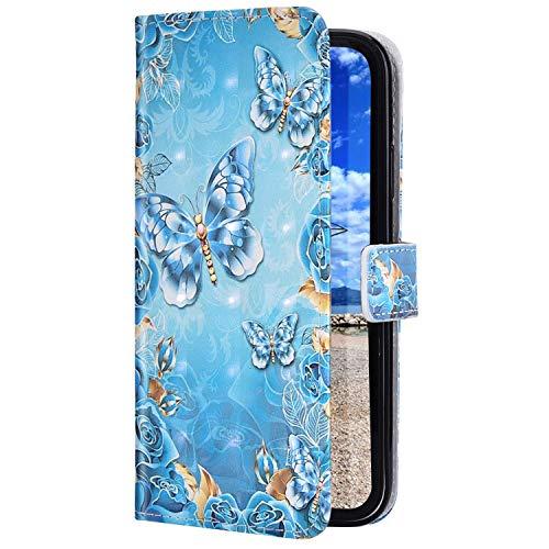 Uposao Kompatibel mit Samsung Galaxy A71 Handyhülle Glitzer Bling 3D Bunt Leder Hülle Flip Schutzhülle Handytasche Brieftasche Wallet Bookstyle Case Magnet Ständer Kartenfach,Schmetterling