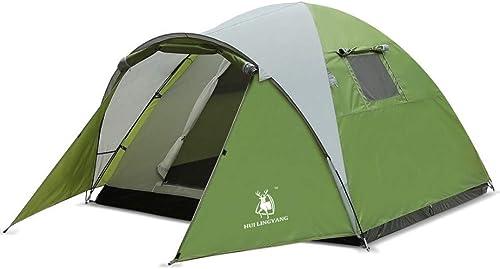3-4 Personnes Double Tente de Camping étanche au Vent Tente de Camping étanche à la Pluie de Fournitures de Plein air (210 + 100) × 210 × 130Cm