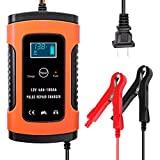 Carrfan 12V 6A Automatic Car Battery Charger, Smart Fast Power Charging Pulse Repair