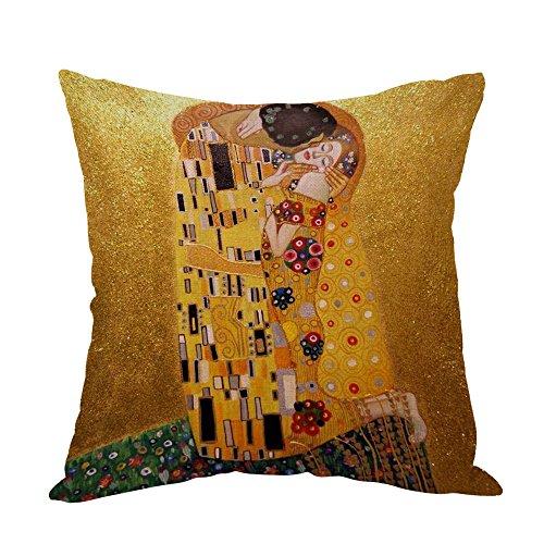 Moslion Gustava Klimts The Kiss - Funda de almohada para sofá, dormitorio, salón, cocina, coche, 45,7 x 45,7 cm
