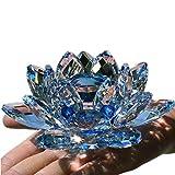 TYGJB Cristallo di Quarzo fine Fiore di Loto Pietre Naturali e minerali Feng Shui Sfera Cristalli Fiori per Souvenir di Nozze (Blu)