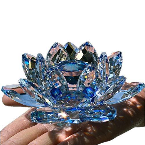 TYGJB Fine Quartz Cristal Verre Fleur De Lotus Pierres Naturelles et Minéraux Feng Shui Sphères Cristaux Fleurs pour Souvenirs De Mariage (Bleu)