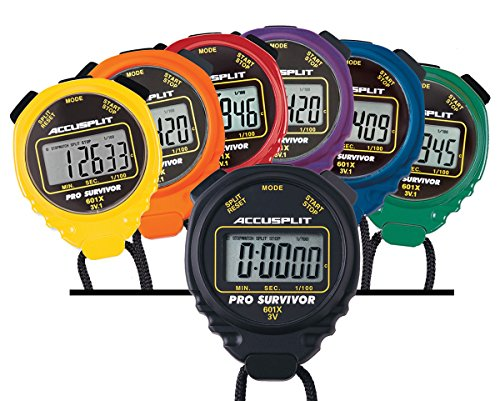 ACCUSPLIT A601X Pro Survivor Rainbow Plus One Stopwatches, Assorted colors, Pack of 7