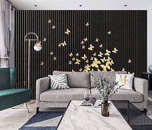 Gold Butterfly Black And White Abstract Lines Wallpaper 3D Non-Woven Wallpaper Modern Murals Wall Decoration Pared Pintado Papel tapiz 3D Decoración dormitorio sala sofá mural-430cm×300cm