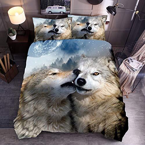 Junge Mann Schwarz Wolf Romantisch Blau Mond Bettwäsche Set mit Kissenbezug, Schnee Galaxis Star Braun Wolf Tier Bettbezug Polyester (Wolf # 4, Single 135x200cm)