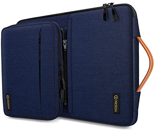 INESEON 360° Schutz Laptop Hülle Tasche für 14 Zoll Acer ASUS Dell HP Lenovo Huawei Chromebook Ultrabook, Schutzhülle Tragetasche Notebooktasche mit Abnehmbarer Zubehörtasche, Dunkelblau