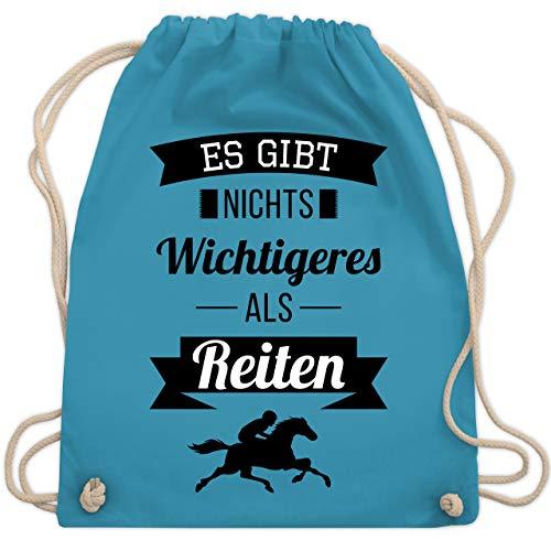 Shirtracer Reitsport - Es gibt nichts Wichtigeres als Reiten - Unisize - Hellblau - geschenk pferdeliebhaber - WM110 - Turnbeutel und Stoffbeutel aus Baumwolle