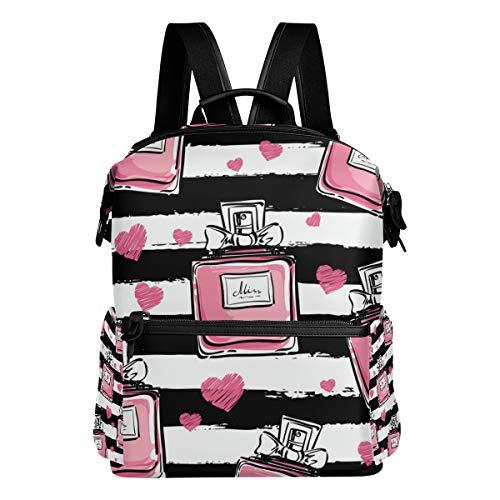 Rucksack mit Parfüm-Streifenmuster, für Damen und Herren, Tagesrucksack, modischer Laptop-Rucksack, Schule, College, Reisetasche, Mädchen, Jungen, Schultasche