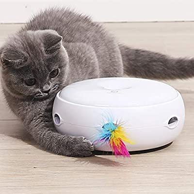 Cat Toy Interactive Feather Smart Kitten Teaser Toy 2020 UPGRADE Silent Version Electronic,Auto Three Modes Random Rotating Feather, Plus Day & Night Sensor, Stimulates Cat's Senses Funny Pet Toys