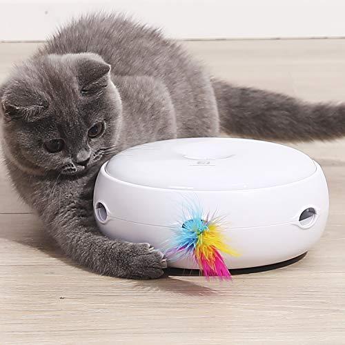 HAPPY HACHI Intelligenzspielzeug Interaktiv Katzenspielzeug DREI Modi Tag und Nacht Elektronisch Federspielzeug Spielen Automatisch Stimulieren Katze Spielzeug 2020 Upgrade Silent Version