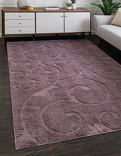 Rugs.com Botanical Shag Collection Rug – 8' x 10' Violet Shag Rug Perfect for Living Rooms, Large Dining Rooms, Open Floorplans