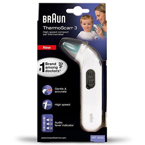 Braun IRT3030 ThermoScan 3 Termometro Auricolare a Infrarossi con Misurazione Veloce, Schermo LCD