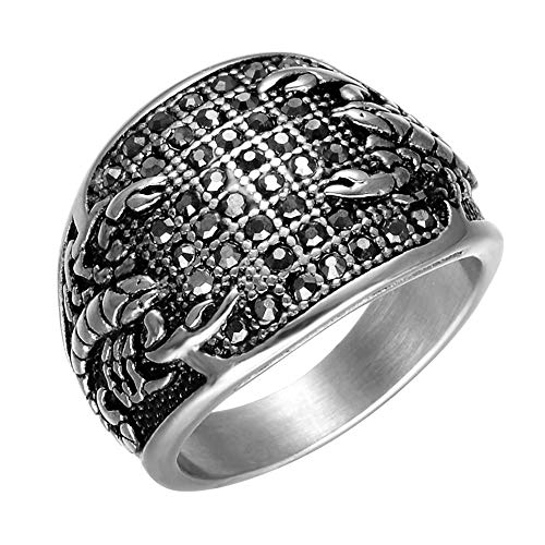 Yfnfxl Men's Stainless Steel Scorpion Ring, Gothic Biker Hip Hop Style for Men Women Black Gold Sizes 8-12 (Silver, 8)