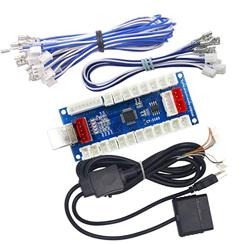 SJ@JX Arcade Controller Zero Delay Encoder PCB Board Arcade DIY Kit Joystick Button 5V Power for PC Raspberry Pi Android PS2 PS3
