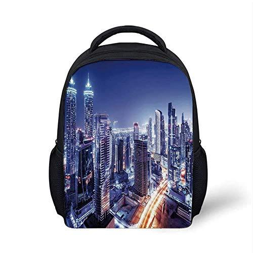 City Stylish Backpack, Dubai Downtown Vereinigte Arabische Emirate Nachtlandschaft Modernes Hochhaus Reiseziel für Schulreisen, 9,4 'L x 3,5' B x 12,2 'H