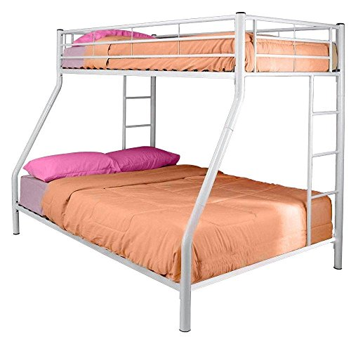 StarSun Depot White Metal Twin Over Full Bunk Bed