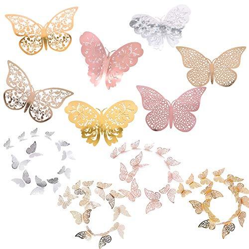 BLOUR 12pcs 3D Butterfly Wandaufkleber 3 Größen Silber Gold Hohl Papier Aufkleber Party Hochzeit hängen dekorative Aufkleber Home Supplies