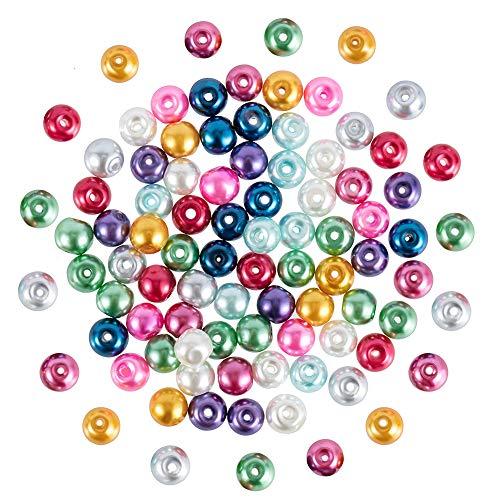 PandaHall 200PCS 6mm Perline di Vetro Colorate Imitazione Perle retondo per Braccialetti collane Bigiotteria Fai da Te, Tinto, 6mm in Diametro, Foro: 0.5mm