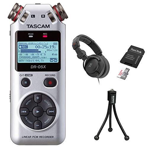 Tascam DR-05X Stereo Handheld Digital Audio Recorder (Silver) Bundle with Studio Monitor Headphones, 16GB Memory Card & Tripod