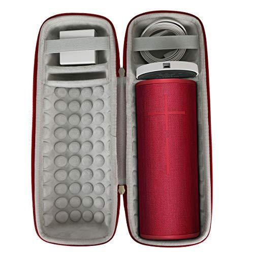 Khanka Hart Tasche Schutzhülle für Ultimate Ears UE Megaboom 3 Bluetooth Lautsprecher,Case Passt für Lautsprecher und Ladestation. (Für UE Megaboom 3, Bengalrot)