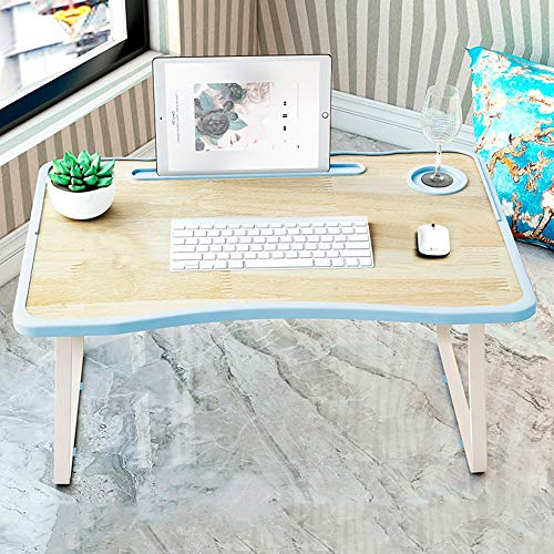 Opvouwbaar Tafel-Opvouwbaar Bureau Laptop Tafel klaptafel computer rack Bed Desk Laptop Desk Student Met Laptop Desk Into Breakfast Bed Tray Laptop Tray (Color : Teak blue)