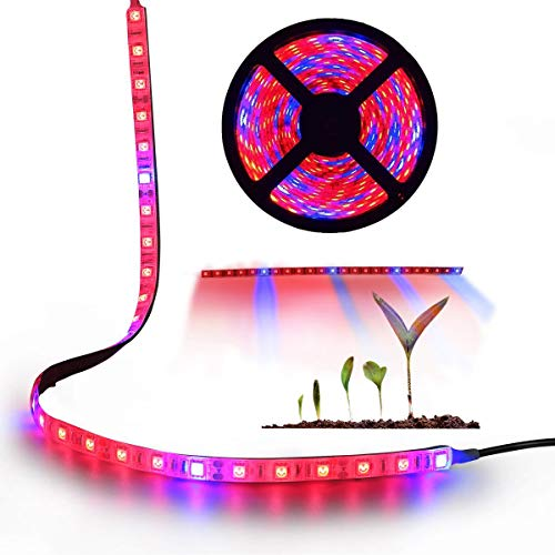 Plant Grow Light AveyLum 5050 SMD LED Plant Strip Lights Indoor Growing Lamp 16.4ft Waterproof Flexible Soft Rope Light with 12V Adapter for Greenhouse Hydroponics Flower Seeds(Red Blue 4:1)