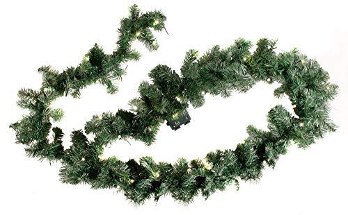 Spetebo Weihnachtsgirlande mit 35 warmweißen LEDs - 270 cm/Batterie und Timer - Tannengirlande Girlande Innen und Außen